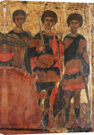 Saints George and Two Warrior Saints, Circa 1400 giclee art print