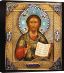 A Silver-Gilt And Cloisonne Enamel Icon Of Christ Pantocrater, 1895 giclee art print