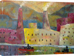 Factories by a Canal 1 giclee art print