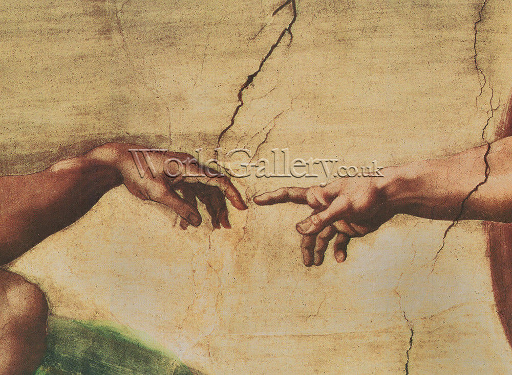 Creation of adam detail small art print by michelangelo
