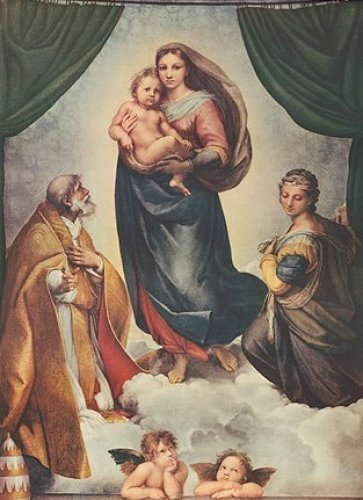 "the alba madonna by raphael ""the alba madonna"" by raphael depicts three figures all looking to the cross  they represent the madonna with the christ child and saint john the baptist as a ."