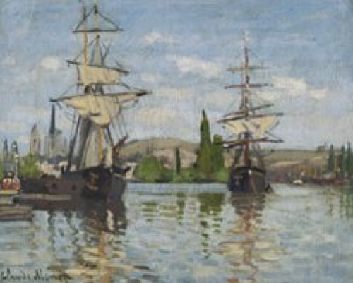Ships Riding on the Seine at Rouen 1872 by Claude Monet