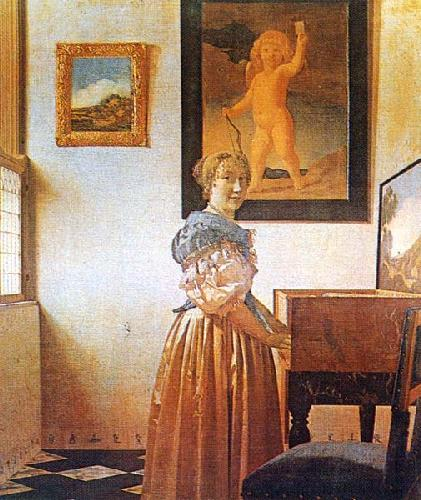 Young lady seated at a virginal c 1670 by jan vermeer