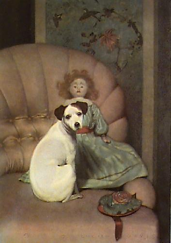 Love Me Love My Dog (Restrike Etching) by Anonymous