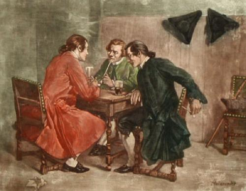 Pipe Smokers (Restrike Etching) by Jean Louis Ernest Meissonier