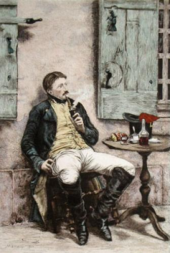 The Smoker (Restrike Etching) by Jean Louis Ernest Meissonier