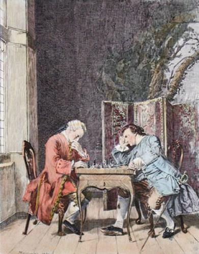 Chess Players (Restrike Etching) by Jean Louis Ernest Meissonier