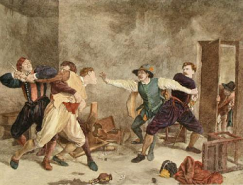 The Quarrel (Restrike Etching) by Jean Louis Ernest Meissonier