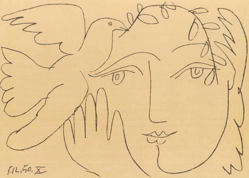 Picasso Line Drawing Face : Dove of peace art print poster by pablo picasso cm x