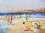 Beach at Biarritz art print