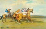 Under Starter's Orders, Newmarket Start art print