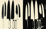 Knives, c. 1981-82 (cream and black) art print
