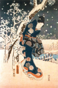Snow Scene in the Garden of a Daimyo art print