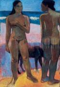 Two Nudes on a Tahitian Beach art print
