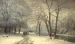 A Winter Landscape With Horses And Carts By A River, 1882 giclee art print