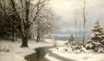 A Wooded Winter Landscape With A Stream And A Lake Beyond, 1889 giclee art print