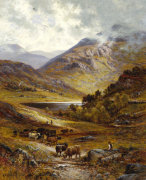 Longhorn Cattle In A Mountainous Landscape, 1892 giclee art print
