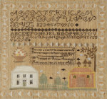 Silk-On-Linen Needlework Sampler. Hardwick, Massachusetts giclee art print