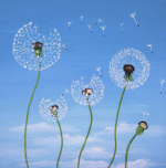 Dandelions in the breeze giclee art print