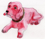 Pink Nodding Dog giclee art print
