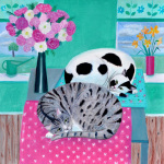 Cats in Springtime giclee art print