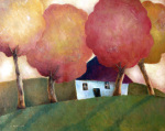 Cottage under Autumn Canopy giclee art print