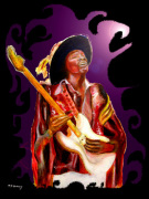 Jimi Hendrix Variations in Purple and Black giclee art print