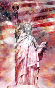 Modern Art Statue of LIberty - Red giclee art print
