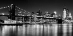 Night Skyline - Brooklyn Bridge b&amp;w giclee art print