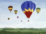 Ballooning over the Cotswolds giclee art print