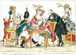 Caricature of Louis XVI playing chess with a soldier giclee art print