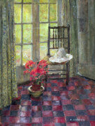 Interior with geranium giclee art print