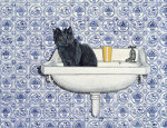 My Bathroom Cat giclee art print