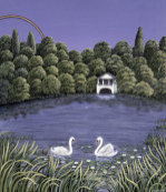 Swans on a lake, 1983 giclee art print
