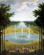 View of the Bassin d&#39;Apollon in the gardens of Versailles 1713 giclee art print