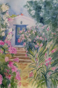 Door with Oleander and Geraniums giclee art print