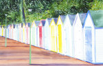 Beach Huts in Devon giclee art print