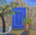 Blue Door with Lemon Tree giclee art print