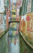 Boat under the bridge giclee art print