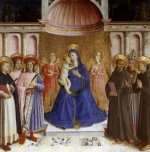 Madonna enthroned with six saints and angels giclee art print