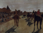 Racehorses at the grandstand giclee art print