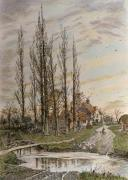 Where the Poplars Kiss the Sky (Restrike Etching) art print