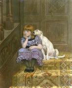 Sympathy (girl and dog) (Restrike Etching) art print
