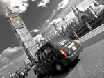 Taxi on road with big ben in background, London giclee art print