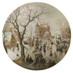 A Winter Scene with Skaters near a Castle giclee art print
