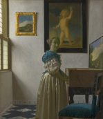 A Young Woman standing at a Virginal giclee art print