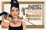 Audrey Hepburn - Breakfast at Tiffanys (Gold) art print