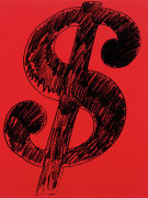 Dollar Sign, 1981 (black on red) giclee art print