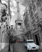 Paris - Red Girl, Blue Car art print