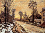 Road at Louveciennes, Melting Snow, Sunset giclee art print
